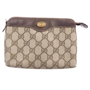 46d81119c40 Gucci Vintage Gg Zip Pouch Tan and Brown Coated Canvas Leather Clutch