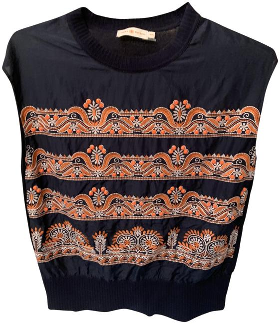 Preload https://img-static.tradesy.com/item/24074839/tory-burch-silk-and-navy-blue-with-orange-embroidered-beading-sweater-0-1-650-650.jpg
