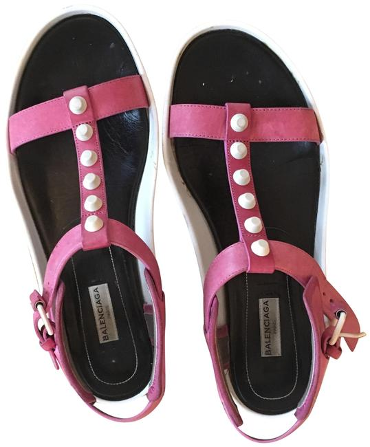 Item - Pink Pink and White Sandals Size EU 39.5 (Approx. US 9.5) Regular (M, B)