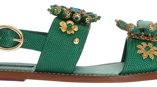 Preload https://img-static.tradesy.com/item/24074884/dolce-and-gabbana-green-gold-d3065-2-women-s-leather-crystal-eu-37-65-sandals-size-us-65-narrow-aa-n-0-1-540-540.jpg