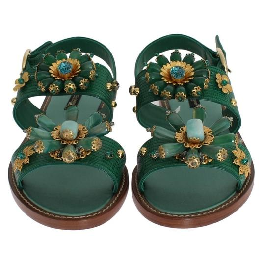 Dolce&Gabbana D3065-2 Women's Leather Crystal Green / Gold Sandals