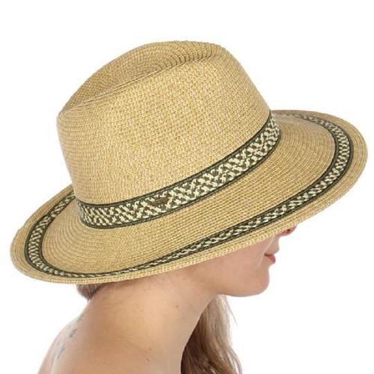 Panama New Geometric band panama fedora hat with adjustable string