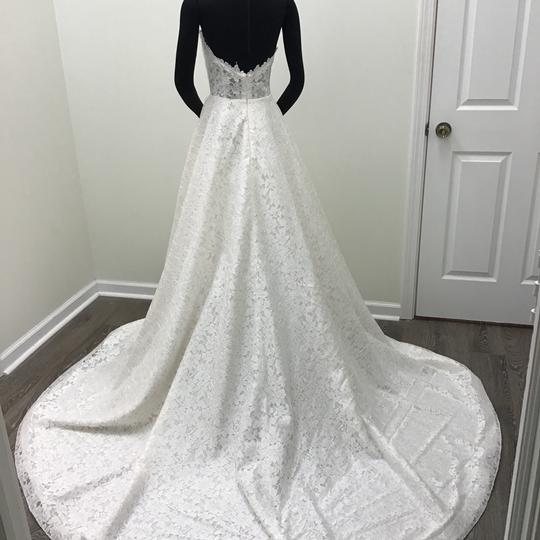 Paloma Blanca Natural/Pearl Organza Lace Illusion Lace Style #4738 Formal Wedding Dress Size 10 (M)