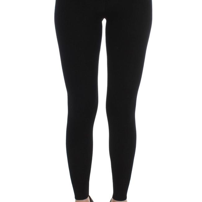 Dolce&Gabbana D32066-3 Women's Wool Stretch Tights Skinny Pants Black