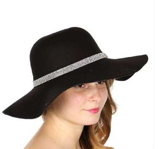 Panama New Cotton blend floppy hat with rhinestone and adjustable string