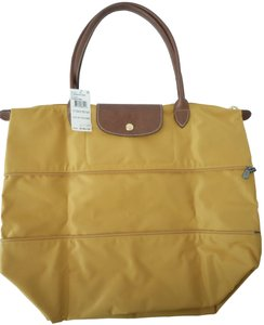 8043b8cea55 Longchamp Nylon Leather Travel Shoulder Tote in yellow