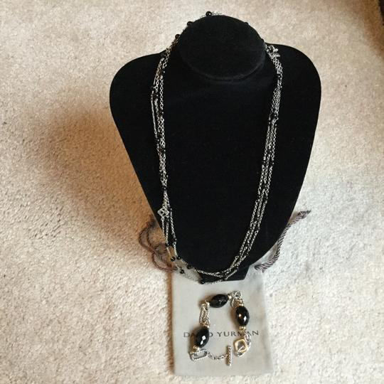 David Yurman necklace and bracelet gold onyx and silver