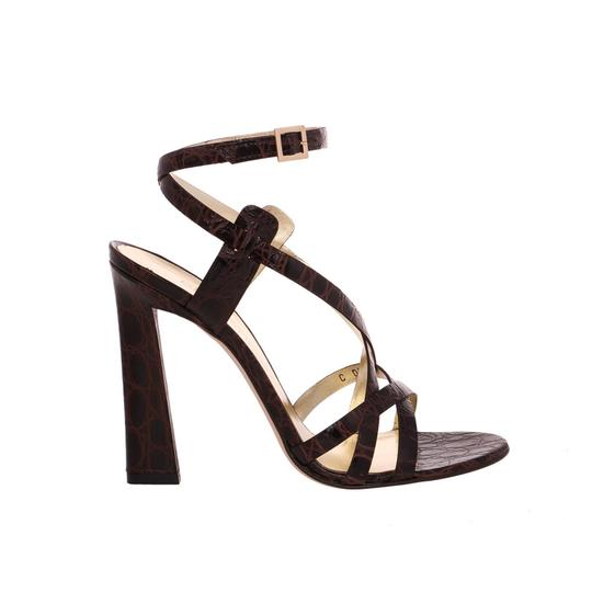 Dsquared2 D2 Women High Leather Crocodile Dark Brown Sandals
