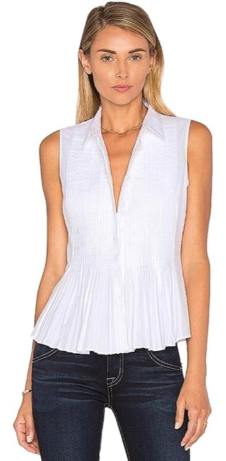 Preload https://img-static.tradesy.com/item/24074991/theory-white-dionelle-pintuck-peplum-cotton-euc-button-down-top-size-2-xs-0-1-650-650.jpg