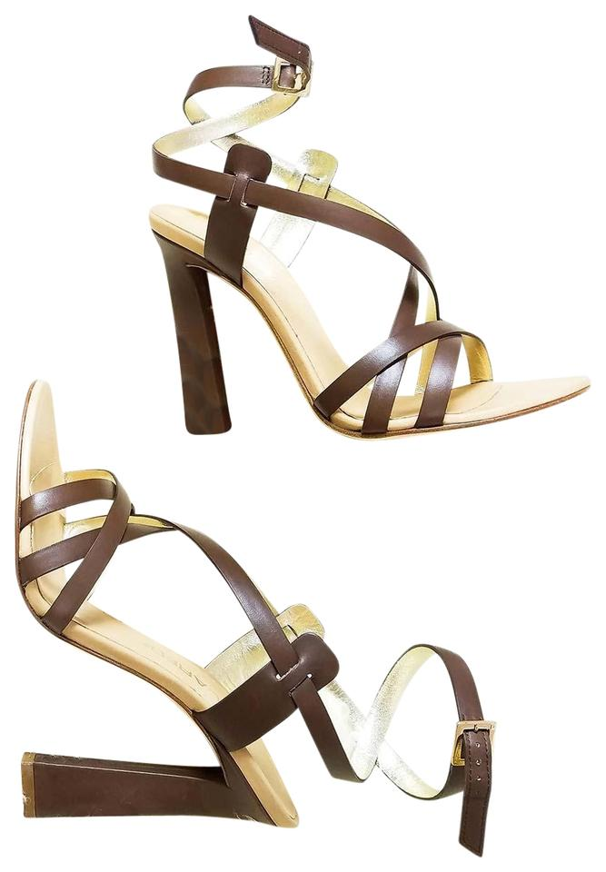 fdcdfb36da Dsquared2 Matte Brown New Dsq2 Genuine Leather Strappy Ankle-wrap Stiletto  Dress High Heels Sandals