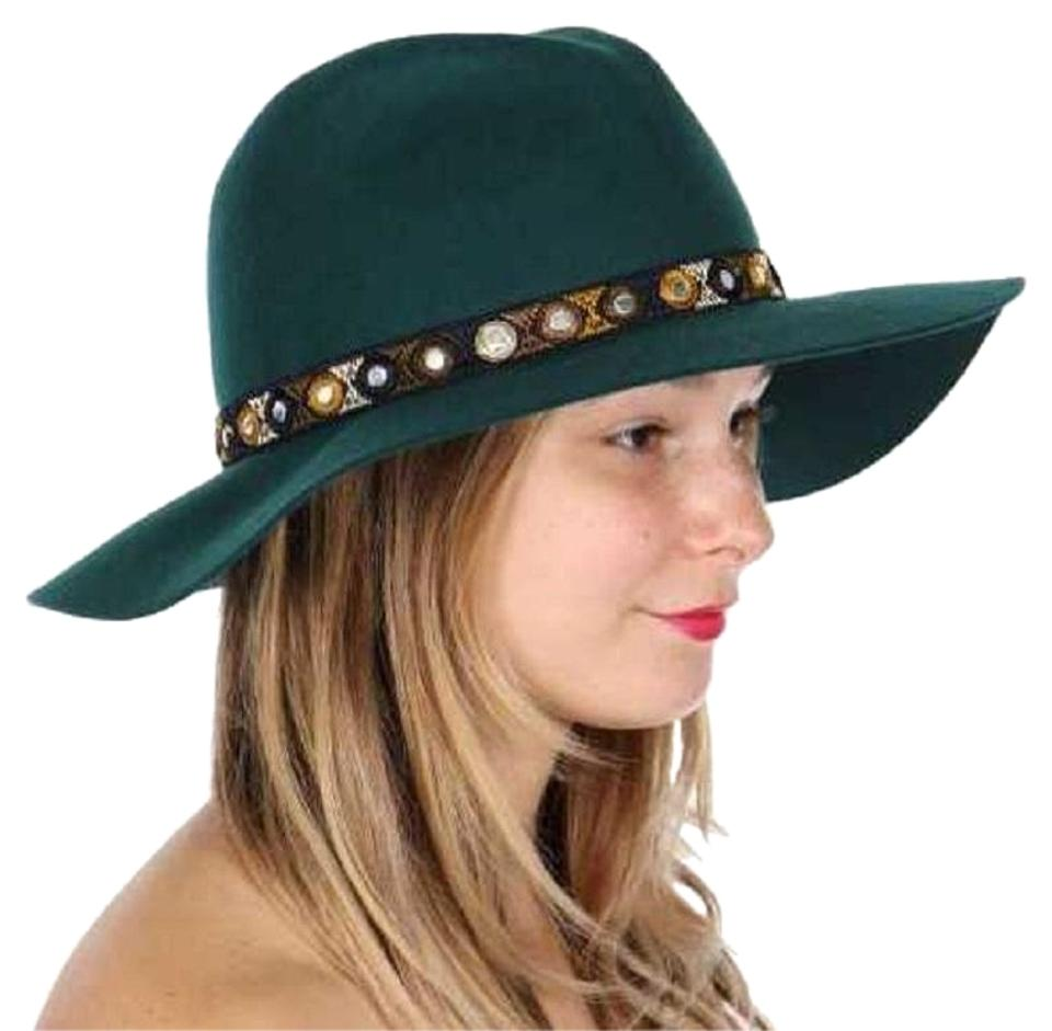 2351d04c8827c Green Wool Embroidered Floppy Hat Hair Accessory - Tradesy