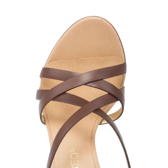 Dsquared2 D2 Women High Leather Ankle-wrap Brown Sandals