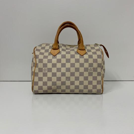 Louis Vuitton Damier Azur Speedy 25 B02048498 Travel Tote in white