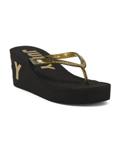 Juicy Couture Glitter Print Logo black/gold Sandals