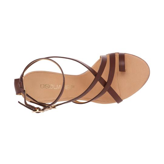 Dsquared2 Leather Made In Italy High Brown Sandals