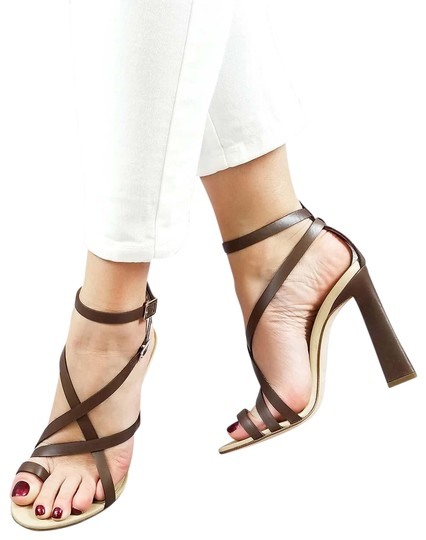 Preload https://img-static.tradesy.com/item/24075113/dsquared2-brown-new-dsq2-genuine-leather-strappy-toe-ring-dress-high-heels-sandals-size-us-8-regular-0-1-540-540.jpg