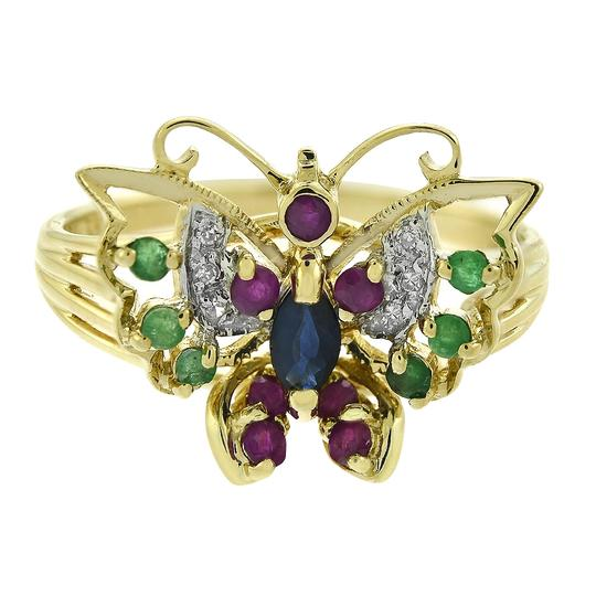 Preload https://img-static.tradesy.com/item/24075147/avital-and-co-jewelry-yellow-gold-010-ct-sapphire-007-ct-ruby-006-ct-emerald-003-ct-diamond-ring-0-0-540-540.jpg