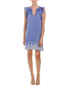 Pappagallo short dress Blue Shift Embroidered Midi on Tradesy