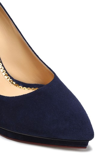 Charlotte Olympia Suede Comfy Dark Blue Pumps
