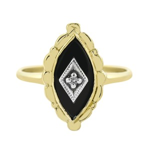 Avital & Co Jewelry 0.01 Carat Diamond Accent & Black Onyx Vintage Ring 10K Yellow Gold
