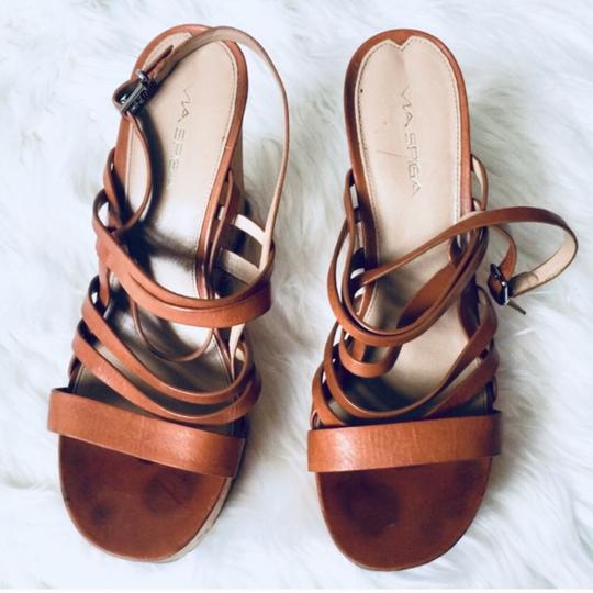 Via Spiga Leather Date Night Chic Brown Wedges