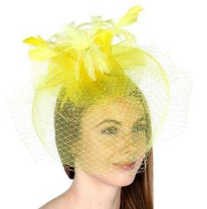 Wedding fascinator Hat New Dress Formal Dressy Feather lace net fascinator Hat