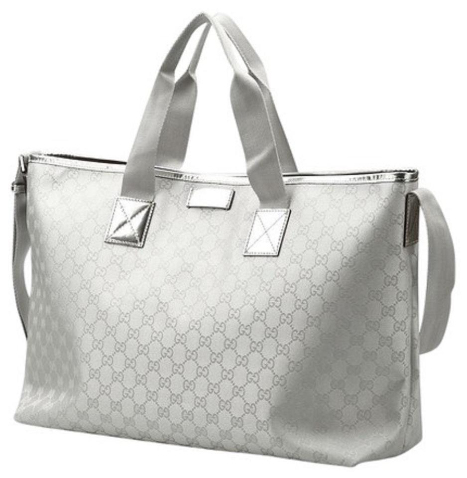 d6aee26563d Gucci Limited Edition Xrlg 2way Shoppe Silver Metallic Canvas and Leather  Tote