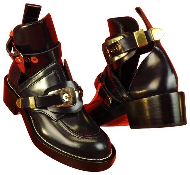 Item - Blue Ceinture Metal Buckle Dark Brushed Leather Ankle Boots/Booties Size EU 40 (Approx. US 10) Regular (M, B)