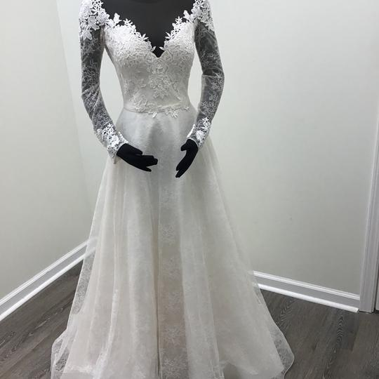 Mikaella Bridal Natural Champagne Lace Embroidered Tulle