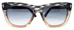 Tom Ford Square Women Sunglasses Plastic Frame with Gray Gradient Lens