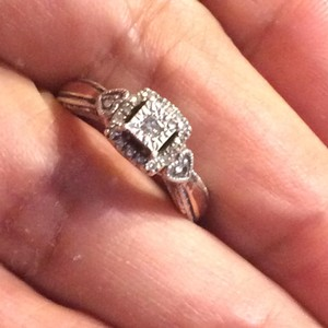 Zales zales 10k yellow gold and 925 sterling silver diamonds ring