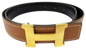 Hermès Mini Constance Brown Green Gold Reversible Leather H Logo Belt 70