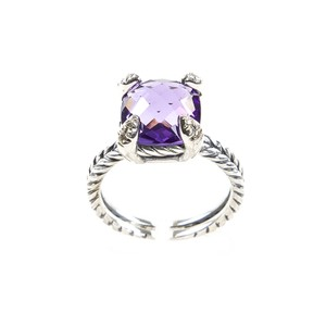 David Yurman Chatelaine Ring with Amethyst & Diamonds 11mm Sz 8 $650 NEW