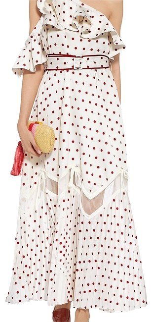 Item - White/Red Polka Long Formal Dress Size 6 (S)