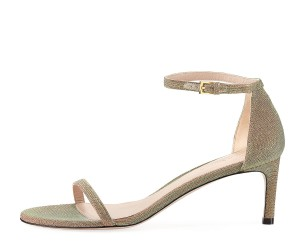 Stuart Weitzman Nudist Ankle Strap Formal Gold Multi Nighttime Sandals