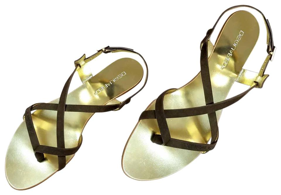 94c4e65b90003 Dsquared2 Brown New Women Genuine Suede Leather Gladiators Slingback Sandals  Flats. Size  US 9 ...