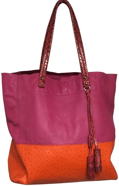Item - Embossed Croc Orange/Pink Leather Tote