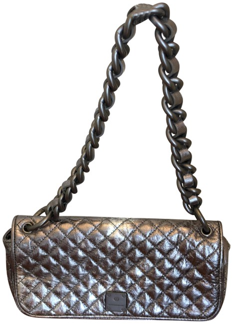 Item - Quilted Satchel Silver Leather Shoulder Bag
