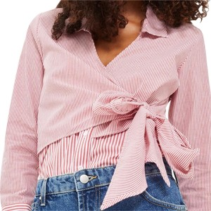 Topshop Winter Fall Casual Striped Structured Button Down Shirt Red White