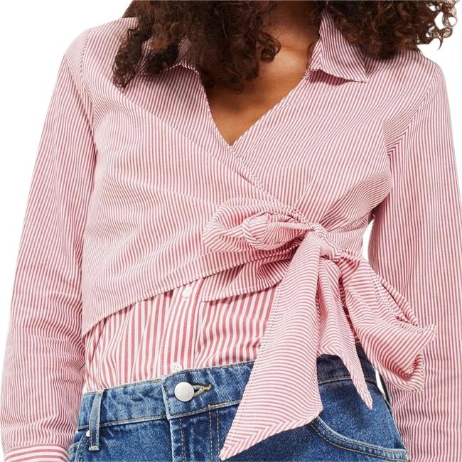 Preload https://img-static.tradesy.com/item/24075973/topshop-red-white-long-sleeve-tie-front-shirt-button-down-top-size-6-s-0-1-650-650.jpg