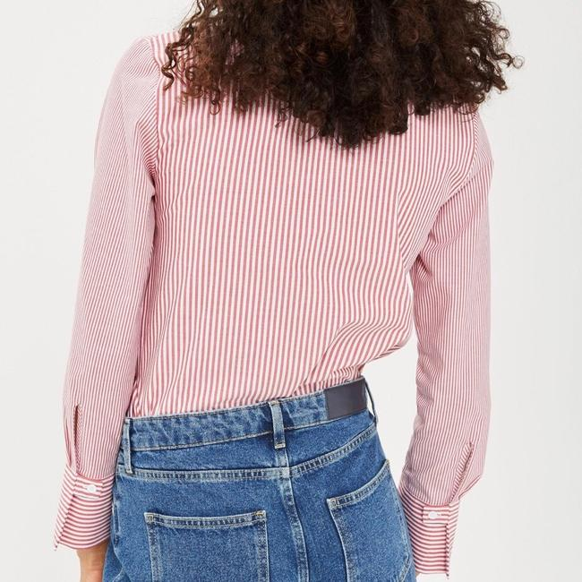Topshop Winter Fall Casual Striped Structured Button Down Shirt Red White Image 2