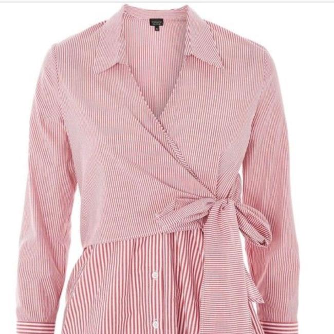 Topshop Winter Fall Casual Striped Structured Button Down Shirt Red White Image 4