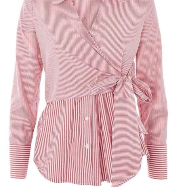 Topshop Winter Fall Casual Striped Structured Button Down Shirt Red White Image 5