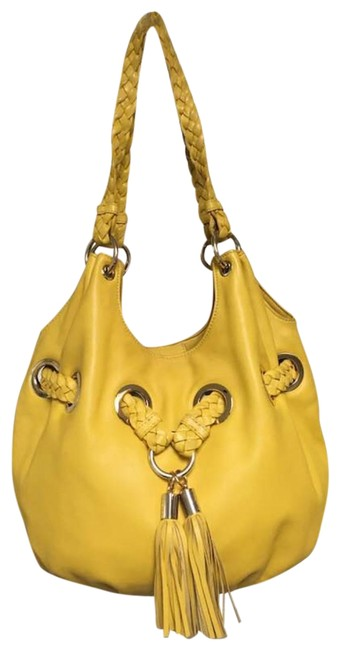 Item - Woven Strap Yellow Leather Hobo Bag