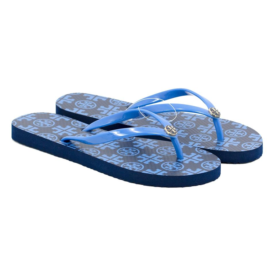 b7a1a9d2c10 Tory Burch Navy Sea New Travelr Square Grand Marina Thin Rubber Flip Flop  Sandals