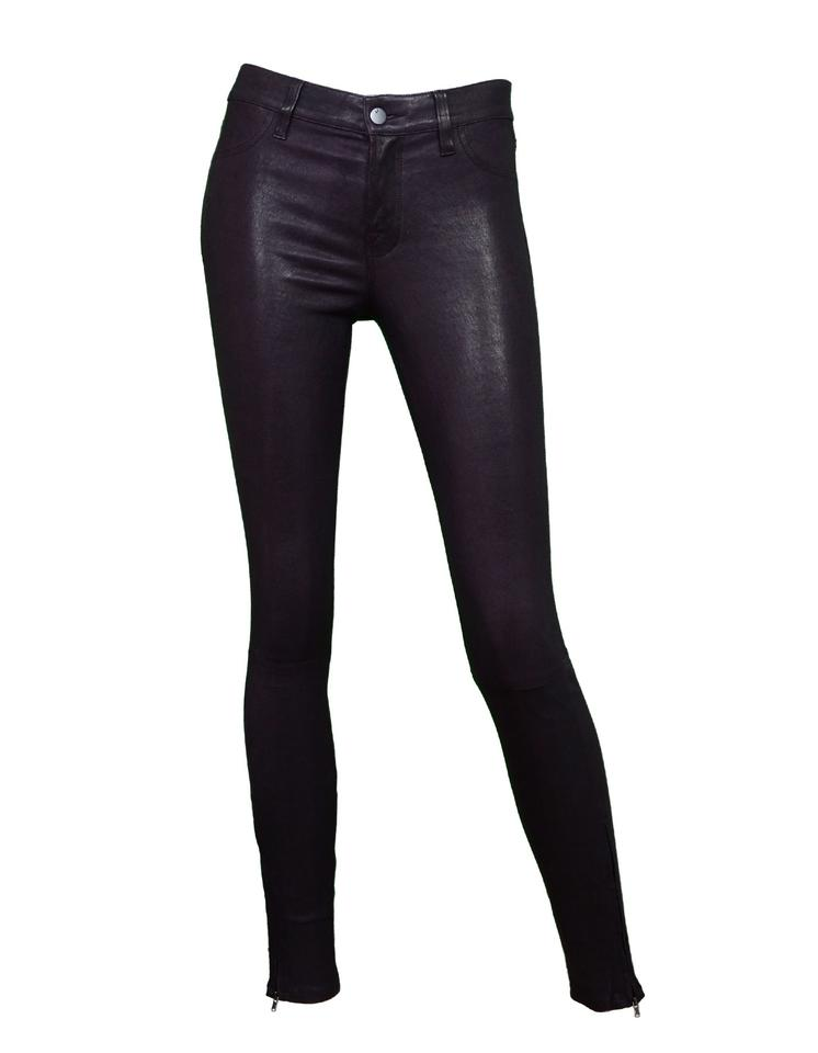 6f4bf4ada4ab J Brand Black Plum Mid Rise Leather Zip Pants Size 2 (XS