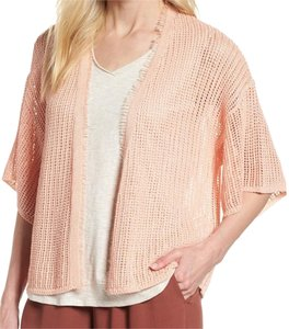 Eileen Fisher Airy Mesh Knit Organic Linen Loose Sleeves Comfy + Breathable Dropped Shoulders Cardigan