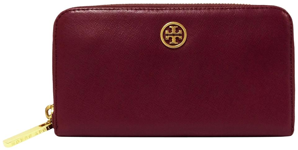 f100a957aed7 Tory Burch Plum Robinson Saffiano Leather Wallet - Tradesy