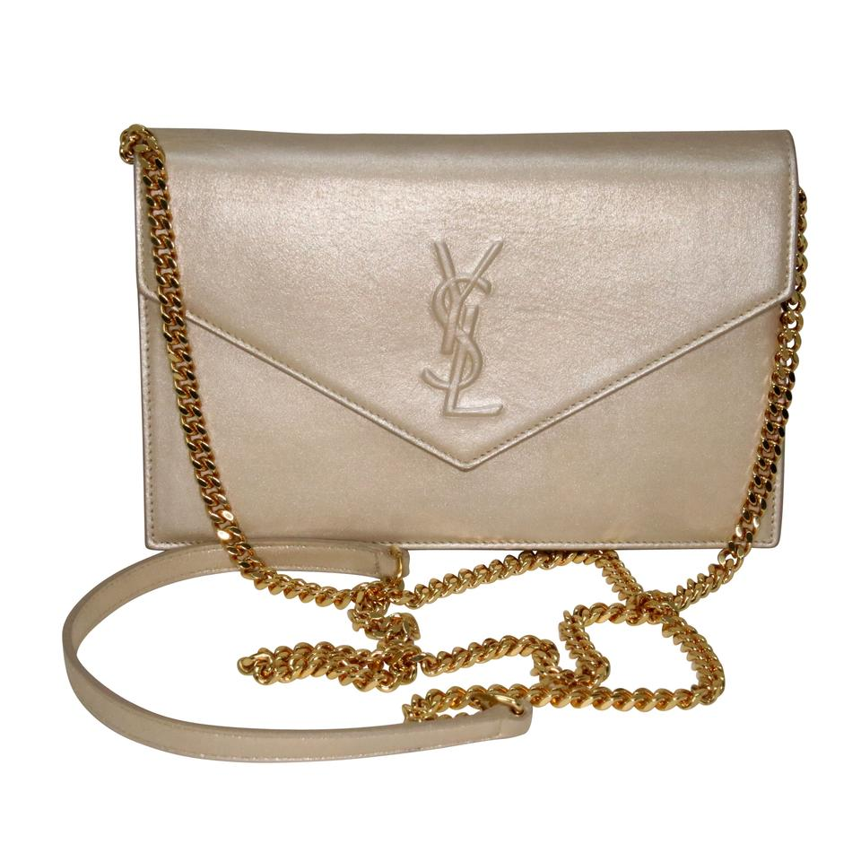 Saint Laurent Chain Wallet Monogram Envelope Ysl Metallic Fabric Champagne  Nappa Leather Cross Body Bag ba36b908bd187