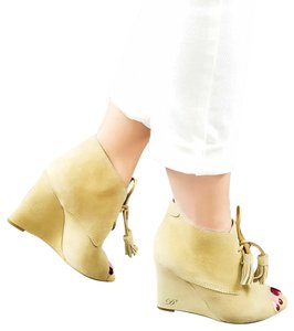 Dsquared2 Suede Lace-up Wedge Nude Beige Boots